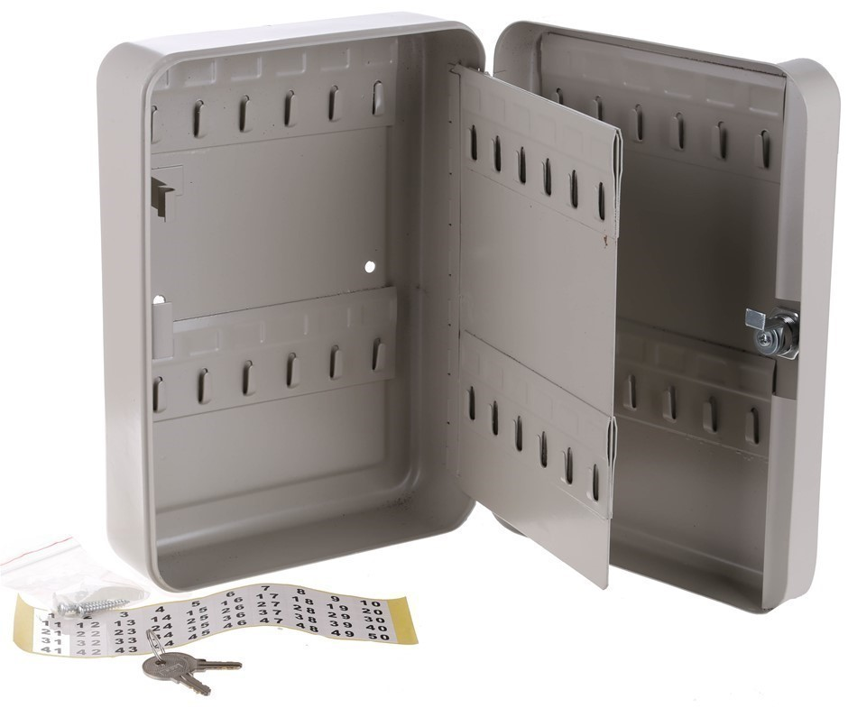 Metal Key Safe, 48 Key Hangers, 250mm x 280mm x 80mm, Wall Mounting. N.B Ke