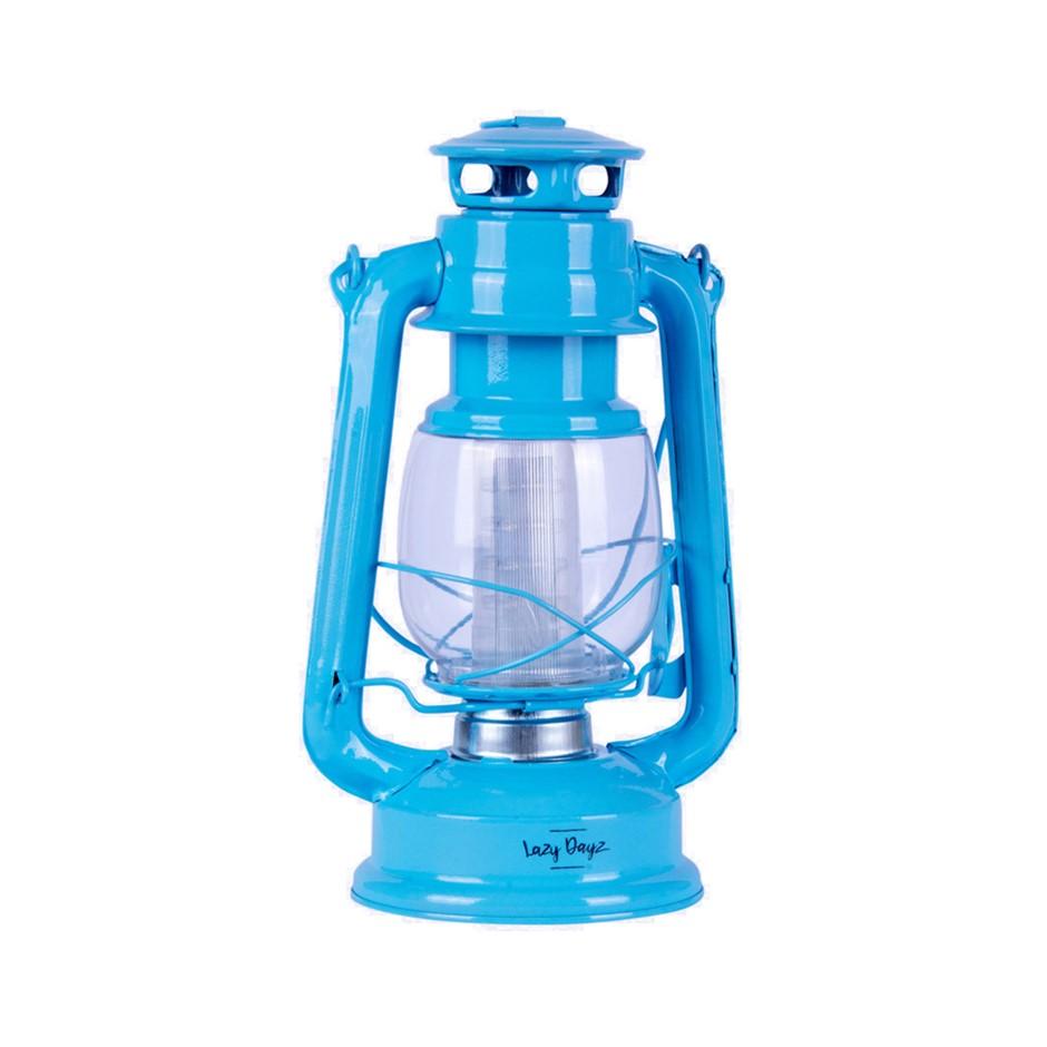 12 LED Solid Metal Camping Hurricane Lantern - Blue