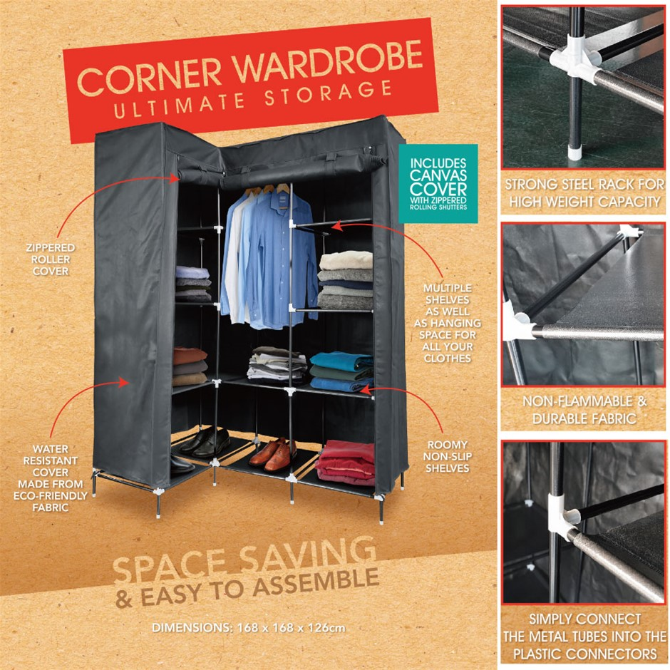 Portable Wardrobe Clothes Storage Cabinet with Shelves