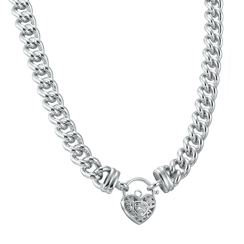 """20"""" Chunky Euro Necklace with Filigree Locket Featuring a Simulated Diamond"""