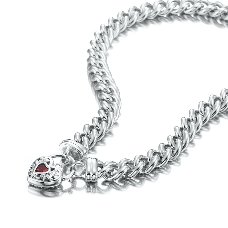 """18"""" Chunky Euro Necklace with Filigree Locket Featuring a Simulated Ruby"""