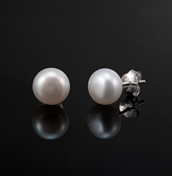 8mm Genuine Freshwater Pearl Earrings made with solid 925 Sterling Silver