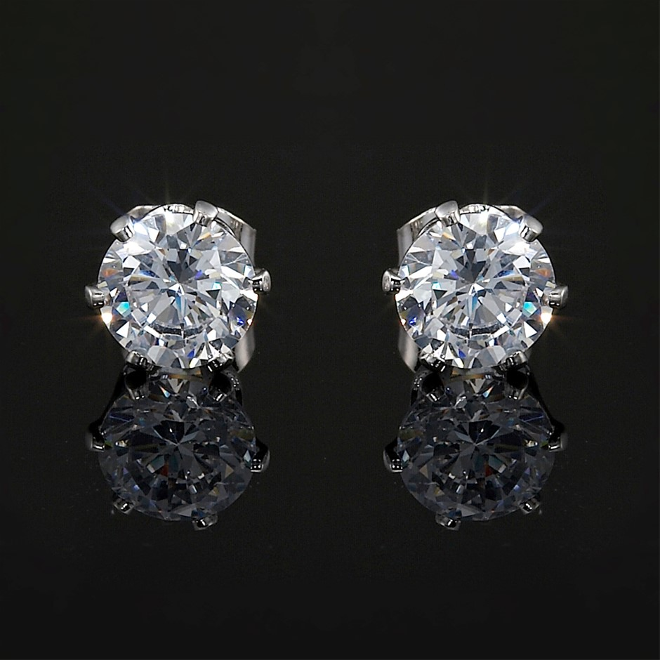 Solid 925 Sterling Silver 6mm Stud Earrings - 2 Crystals by Swarovski®