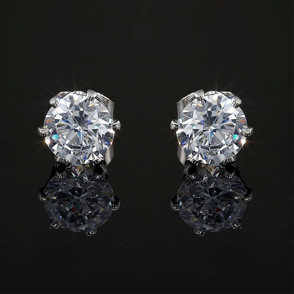Solid 925 Sterling Silver 5mm Stud Earrings - 2 Crystals by Swarovski®