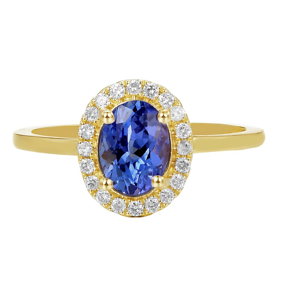 9ct Yellow Gold, 1.32ct Tanzainte and Diamond Ring