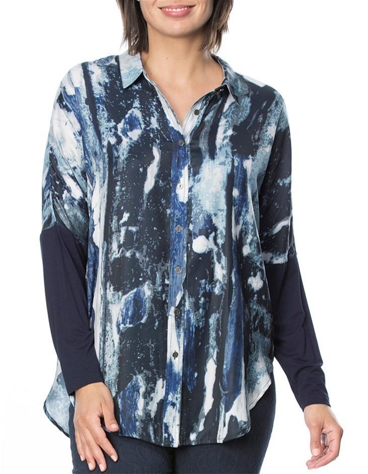 HAMMOCK AND VINE Blue Water Print Shirt. Size 12, Colour: Navy Print. 100%