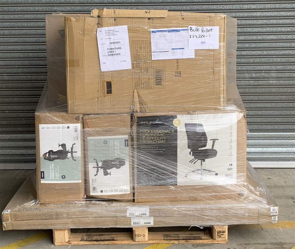 Pallet of Assorted Office Equipment, Whiteboard, Filing Cabinet
