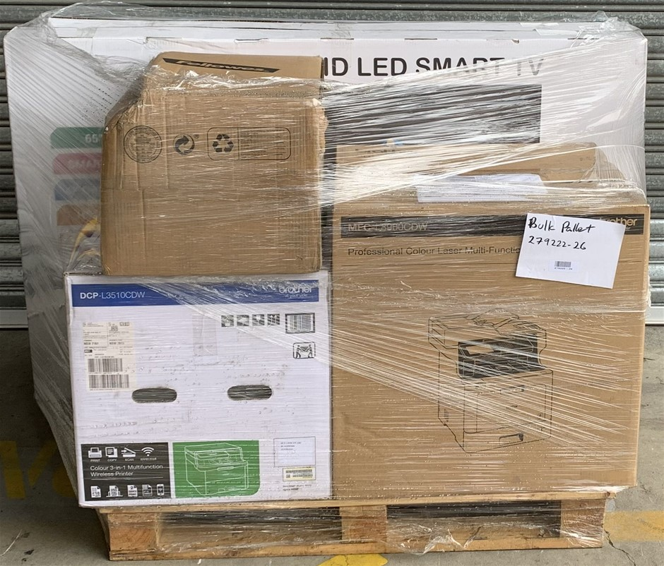 Pallet of Assorted Office Equipment, Printers, Signage Panel