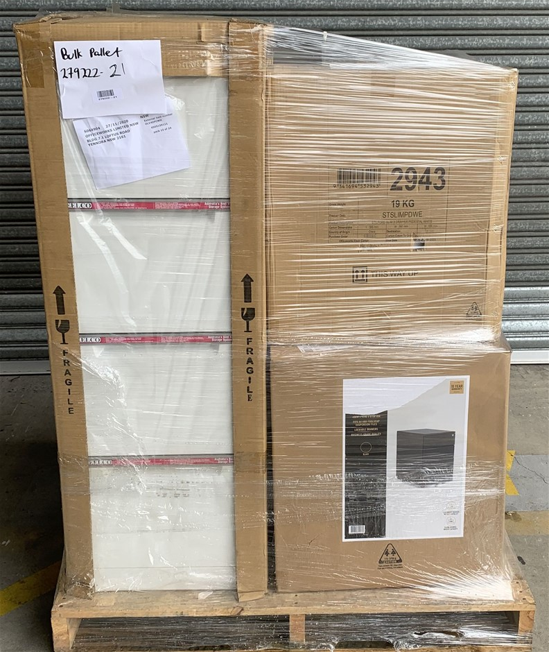Pallet of Assorted Office Equipment, Filing Cabinets, Pedestals