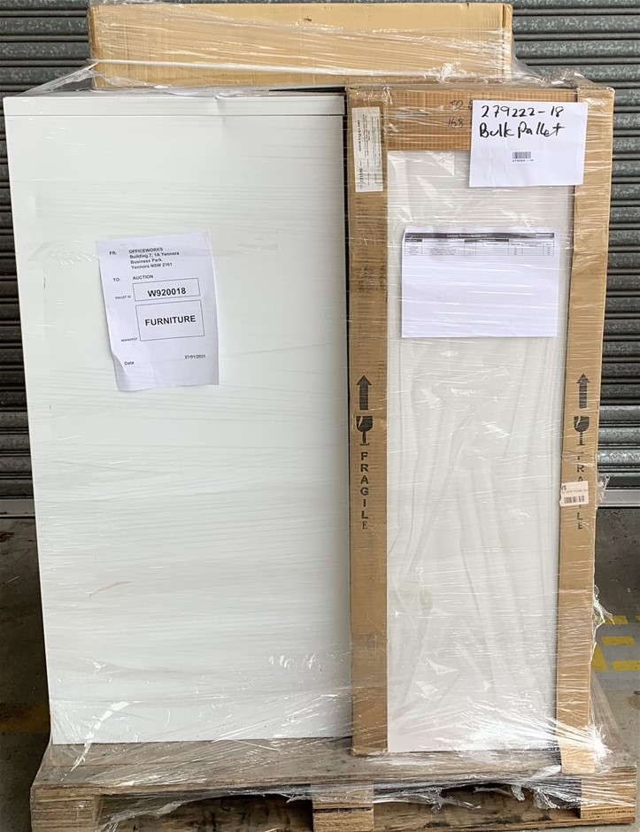 Pallet of Assorted Office Equipment, Filing Cabinets, Shrink Wrap Machine