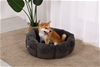 Charlie's Pet Faux Fur Calming Bed with Bolster Round Grey D68.5*30cm