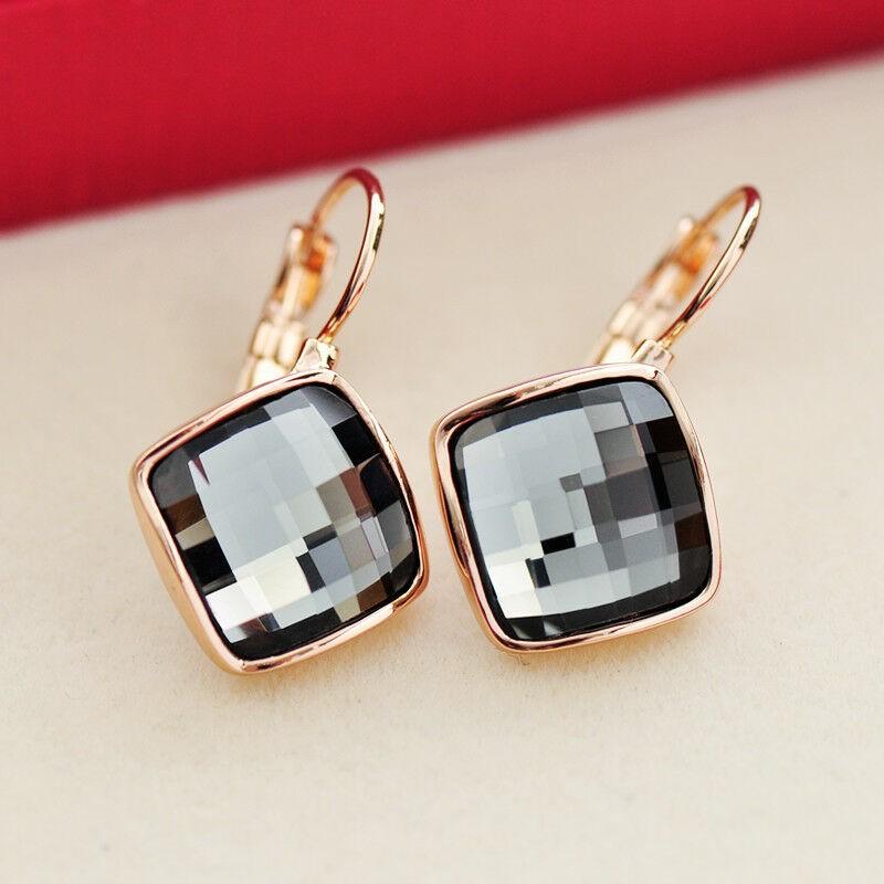 18K Rose Gold filled Square Hoop Huggie Earrings With SWAROVSKI CRYSTAL