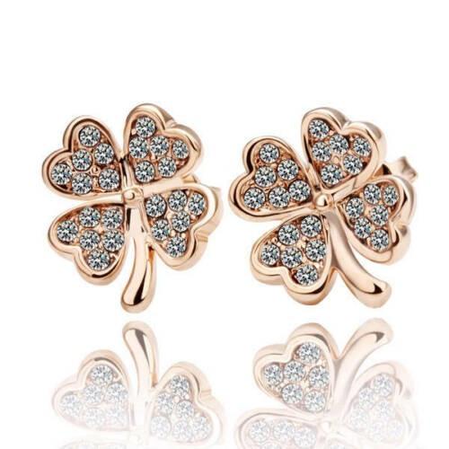 18K Rose Gold Plated Lucky Flower Crystal Clover Stud Earrings