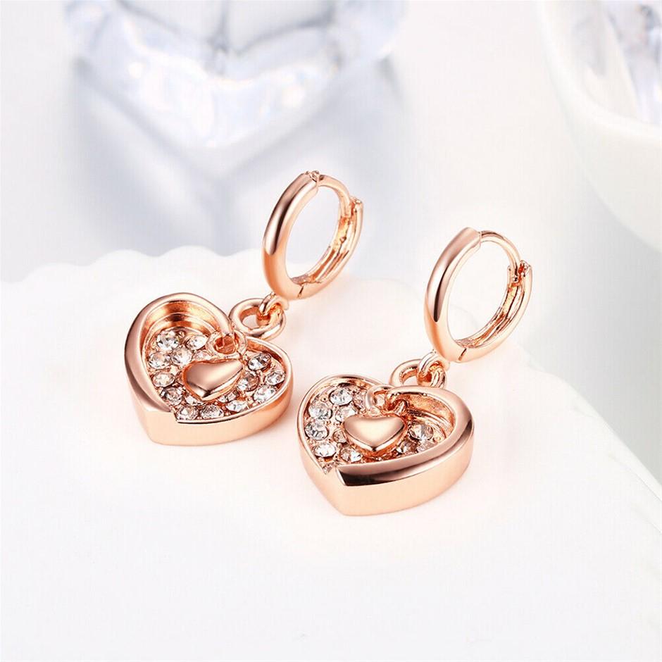 18K Rose GOLD filled Solid Heart Hoop Earrings With SWAROVSKI Crystal