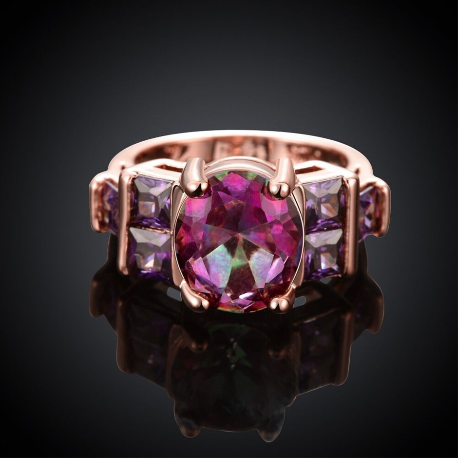 18K Rose Gold plated Lady's Unique Purple Crystal Wedding Engagement Ring