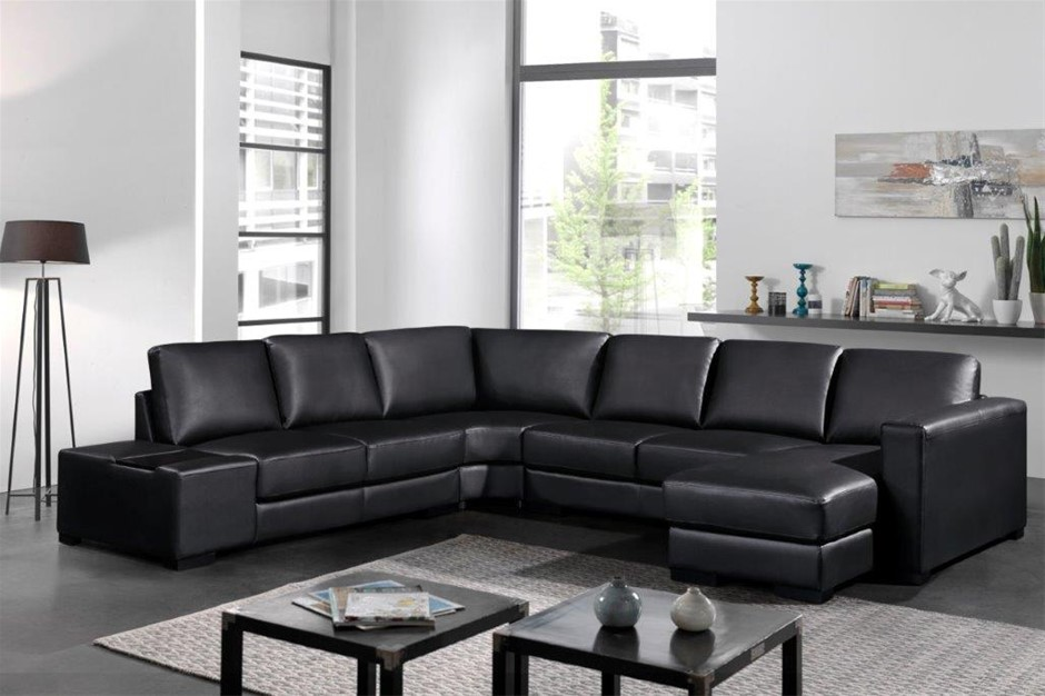Lounge Set 6 Seater Bonded Leather Corner Sofa Couch in Black with Chaise