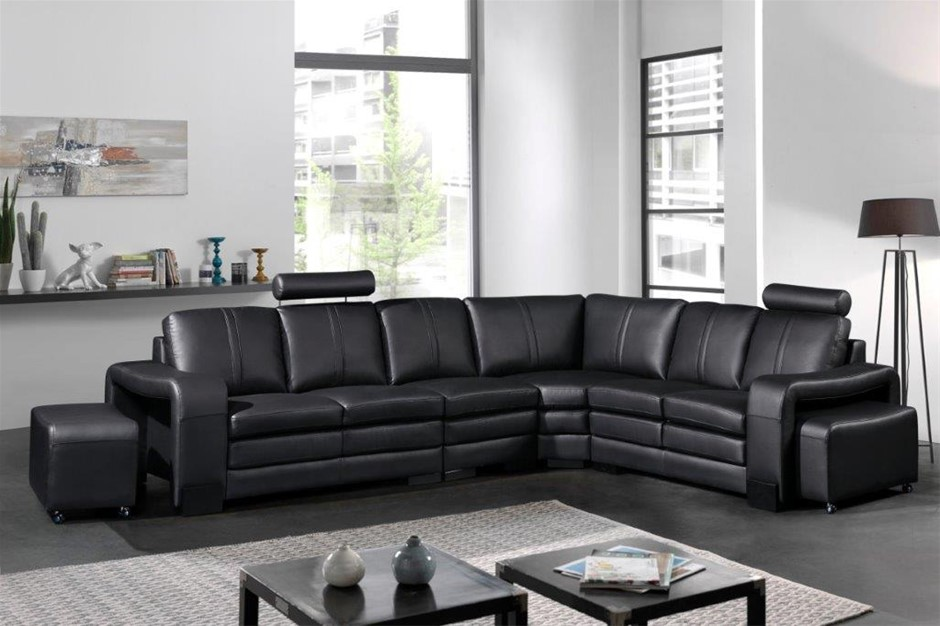 Lounge Set 6 Seater Faux Leather Corner Sofa Couch in Black with Ottomans