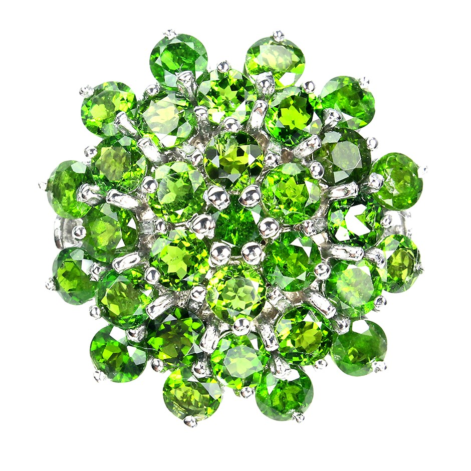 925 Silver Gorgeous Chrome Diopside Cluster Ring