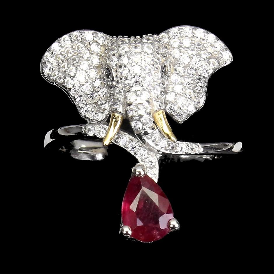 Gorgeous Genuine Ruby Elephant Ring.