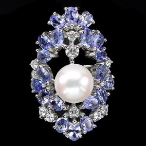 Beautiful Genuine Peral & Tanzanite Ring