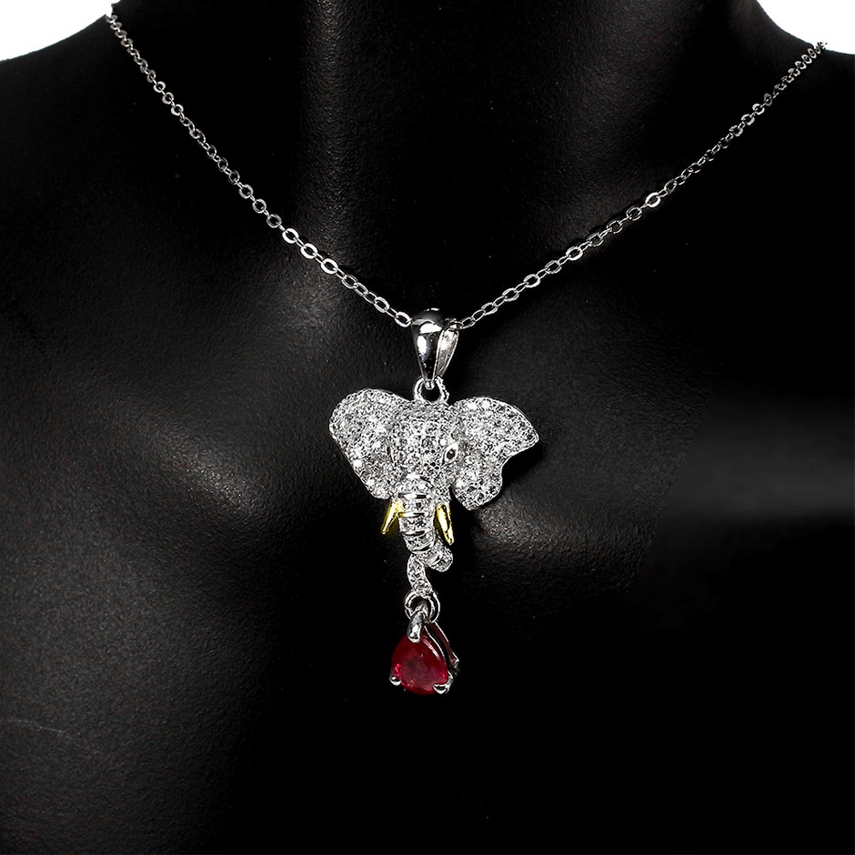 Gorgeous Genuine Ruby Elephant Pendant & Chain.