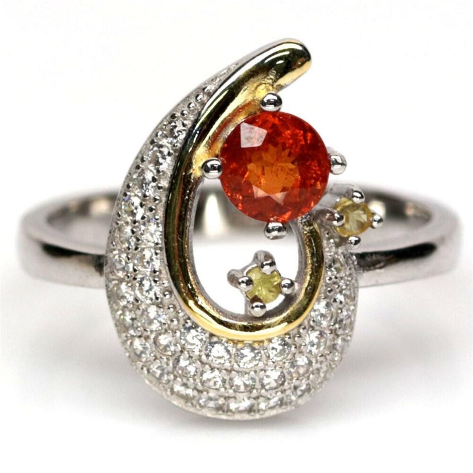 Unique Genuine Orange Sapphire Ring.