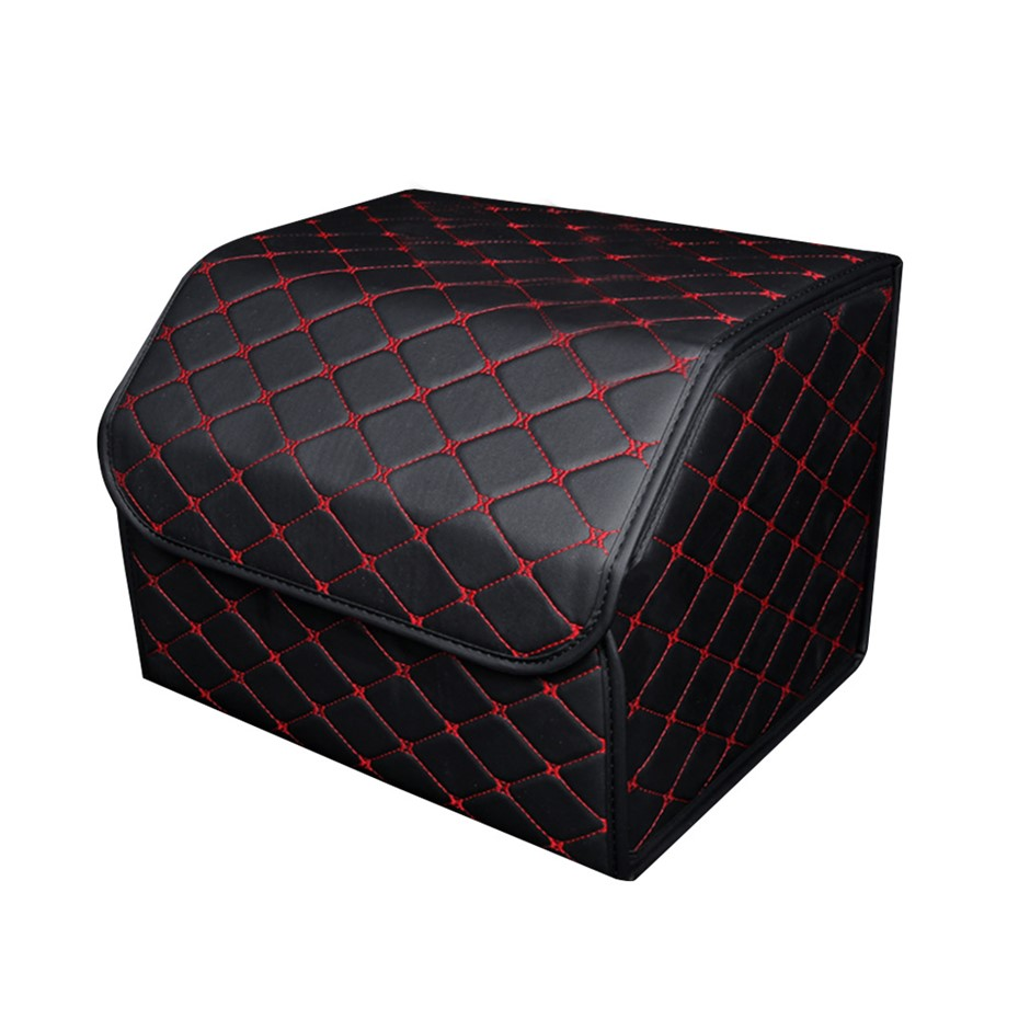 SOGA Car Boot Collapsible Storage Box Black/Red Stitch Medium