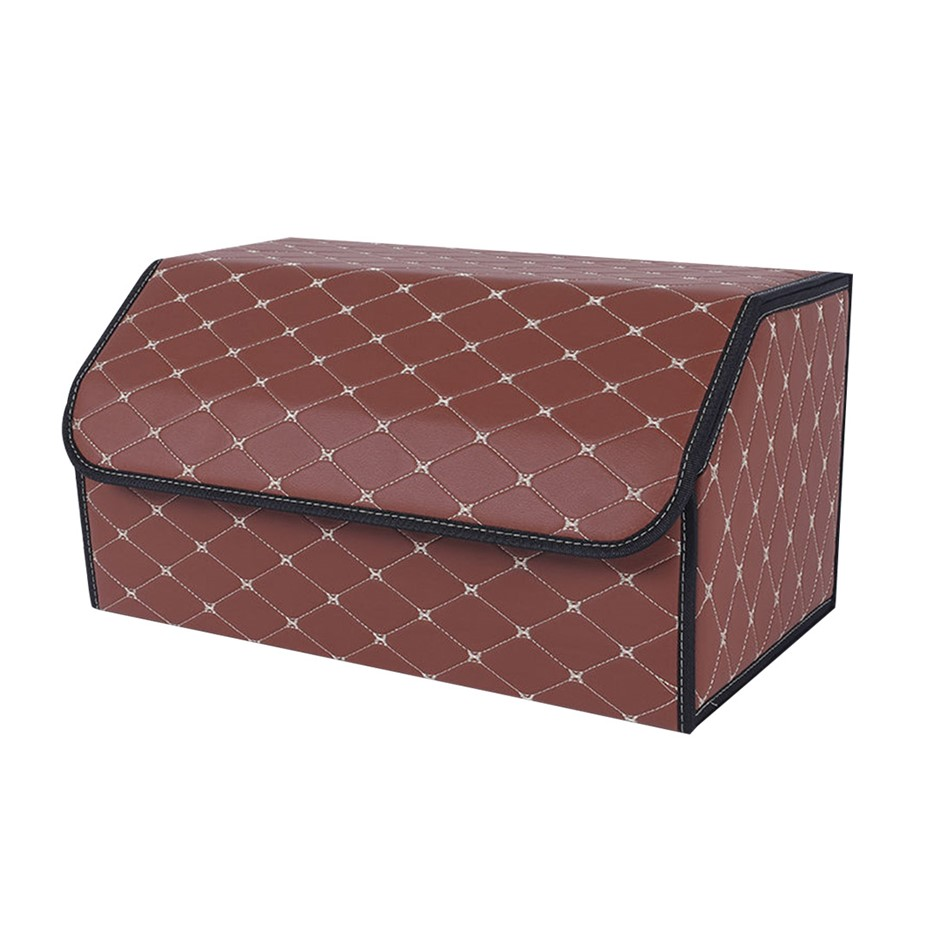 SOGA Car Boot Collapsible Storage Box Coffee/Gold Stitch Large
