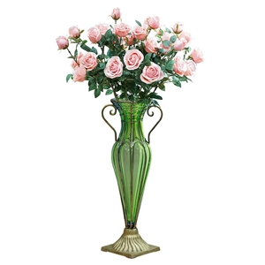 SOGA Glass Flower Vase with 8 Bunch 5 He