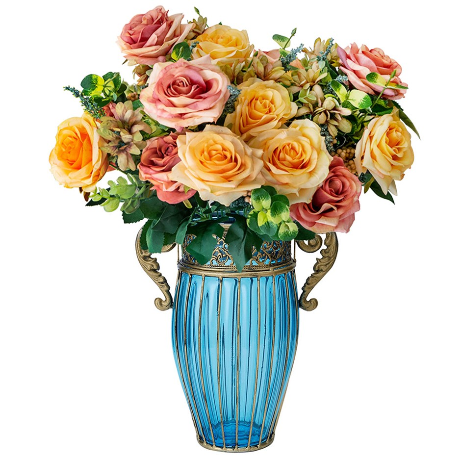 SOGA Blue Glass Flower Vase with 4 Bunch 11 Heads Artificial Rose Set