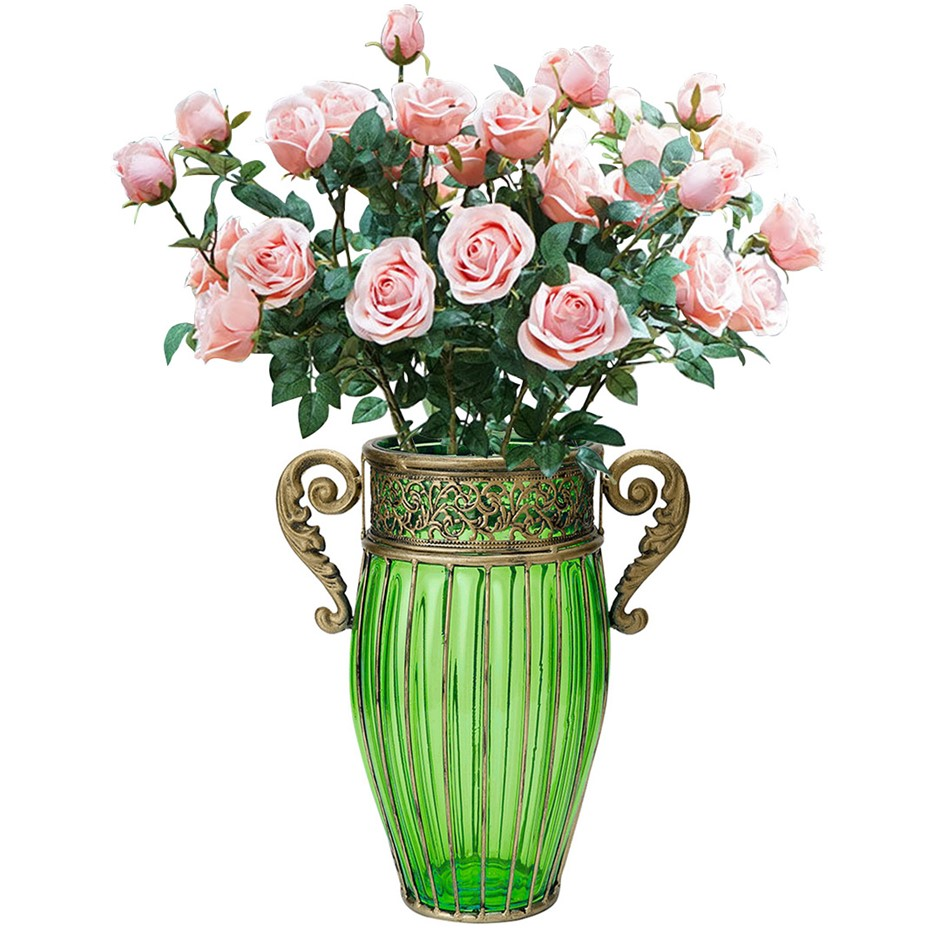 SOGA Green Glass Flower Vase with 8 Bunch 5 Heads Artificial Rose Set