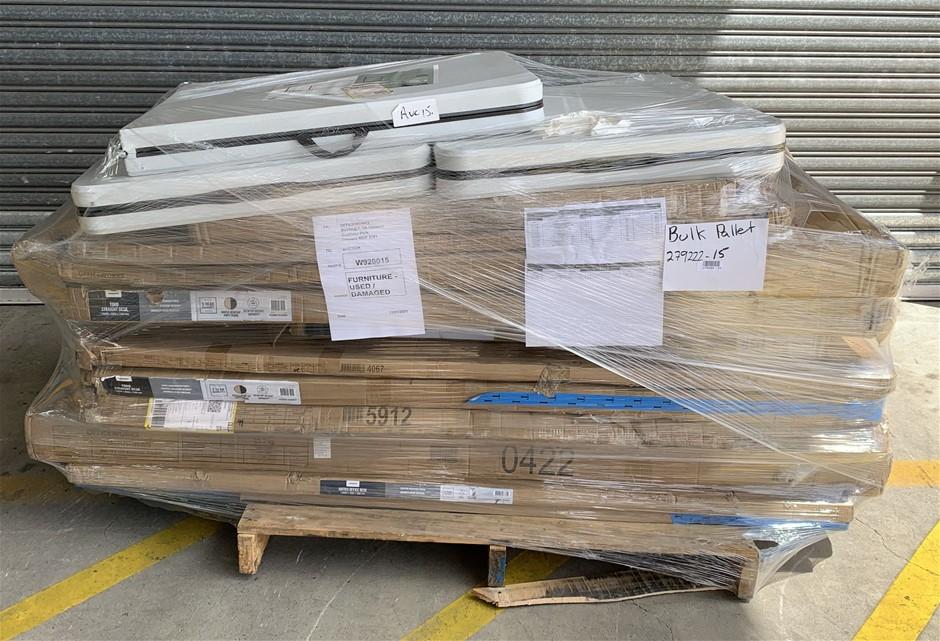 Pallet of Assorted Office Equipment, Desks, Returns, Bookcase