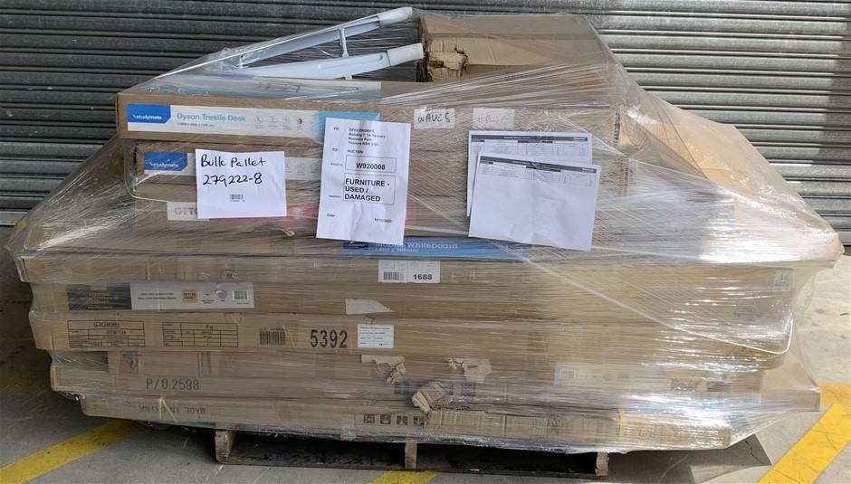 Pallet of Assorted Office Equipment, Trestle Shelf Desk, Whiteboard
