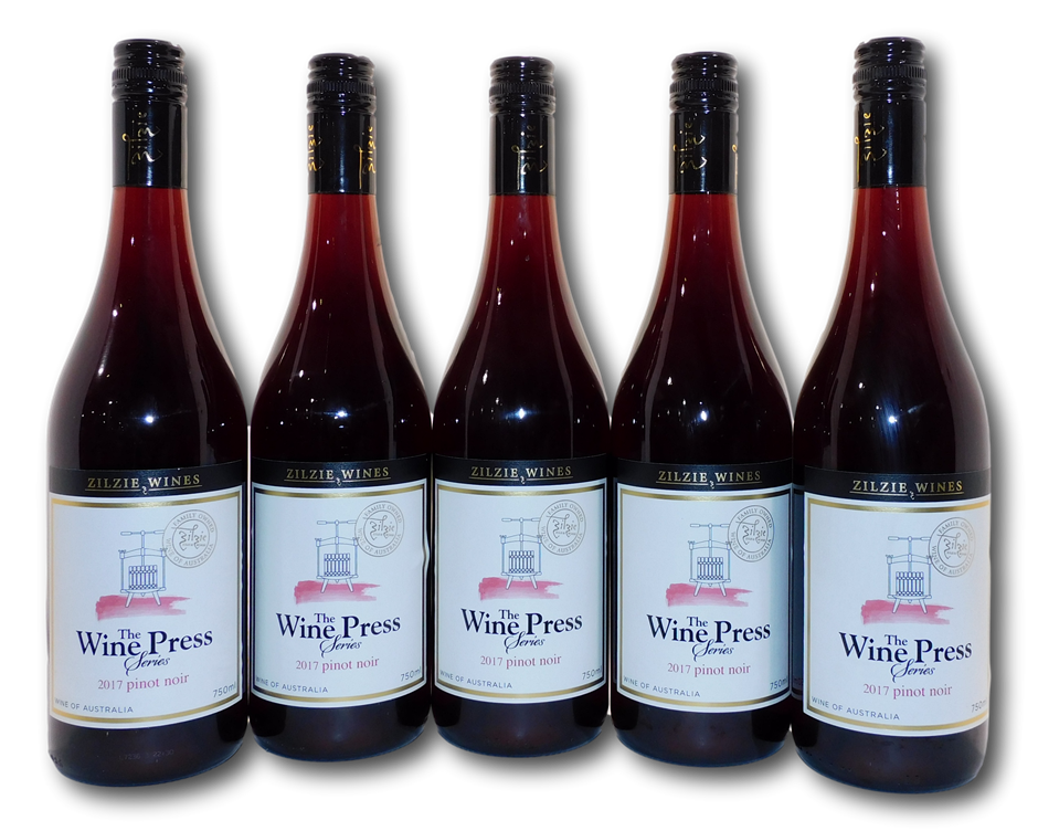 Zilzie Wines The Wine Press Series Pinot Noir 2017 (5x 750mL), VIC