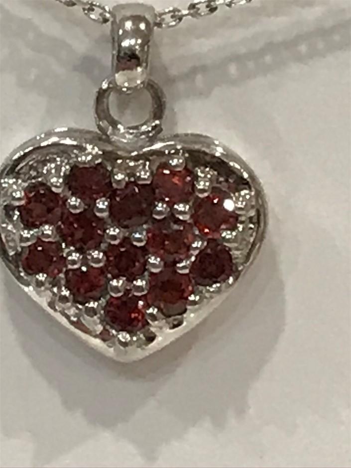 """Stunning Garnet set """"Heart """" & 18K W/Gold Vermeil Pendant"""