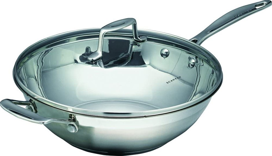 SCANPAN Impact Covered Wok, 32cm Diameter, Silver. Buyers Note - Discount F