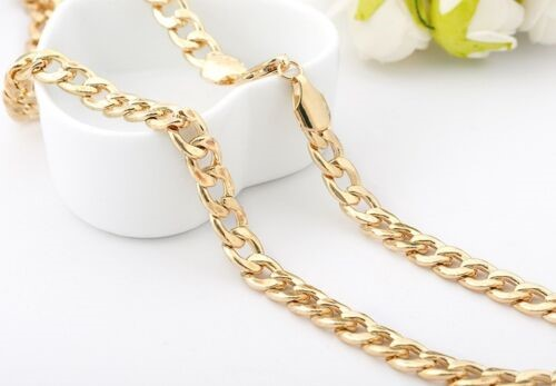 18K Gold Filled Ladies Mens 7mm Classic Solid Curb Chain 50cm
