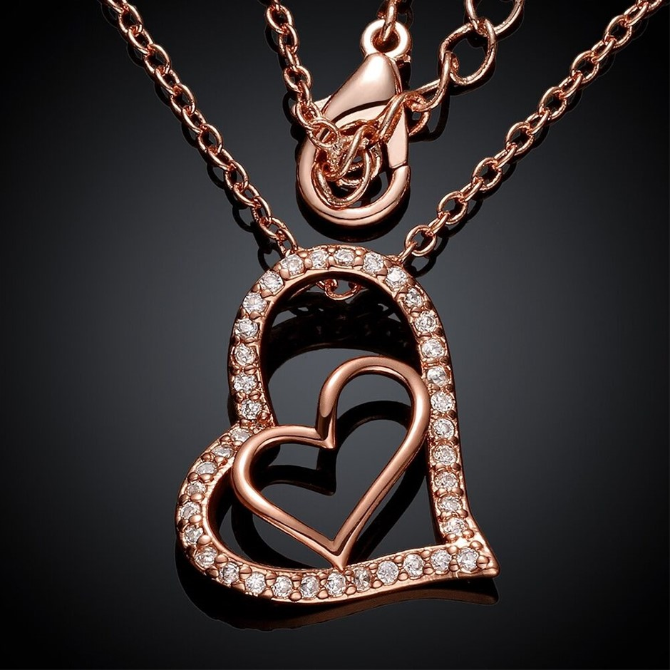 New 18K Rose Gold filled heart Pendant Chain Necklace