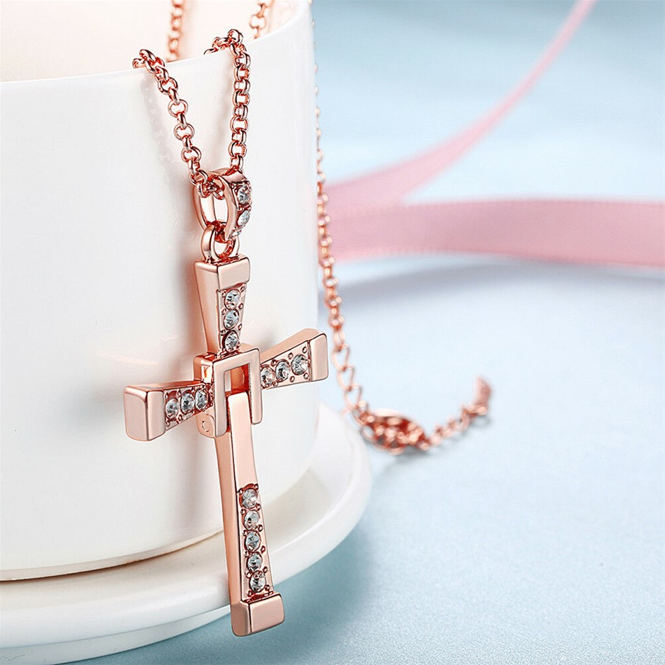 Elegant 18k Yellow/Rose/White Gold GF Cross CZ Pendant Necklace