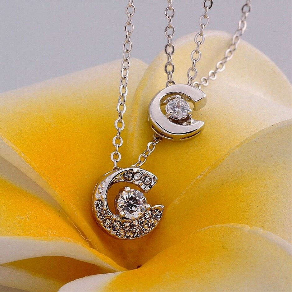 18k White Gold Filled GF 2 Layer Moon CZ Pendant Necklace