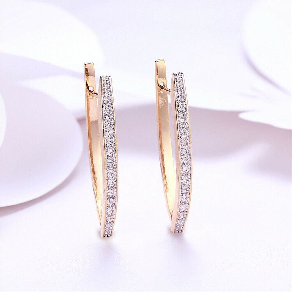Elegant 18K Rose Gold Filled V shape CZ Huggies Earrings