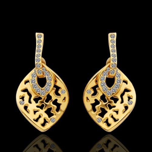 Elegant 18K Yellow Gold Filled Filigree Oval CZ Dangle Earrings