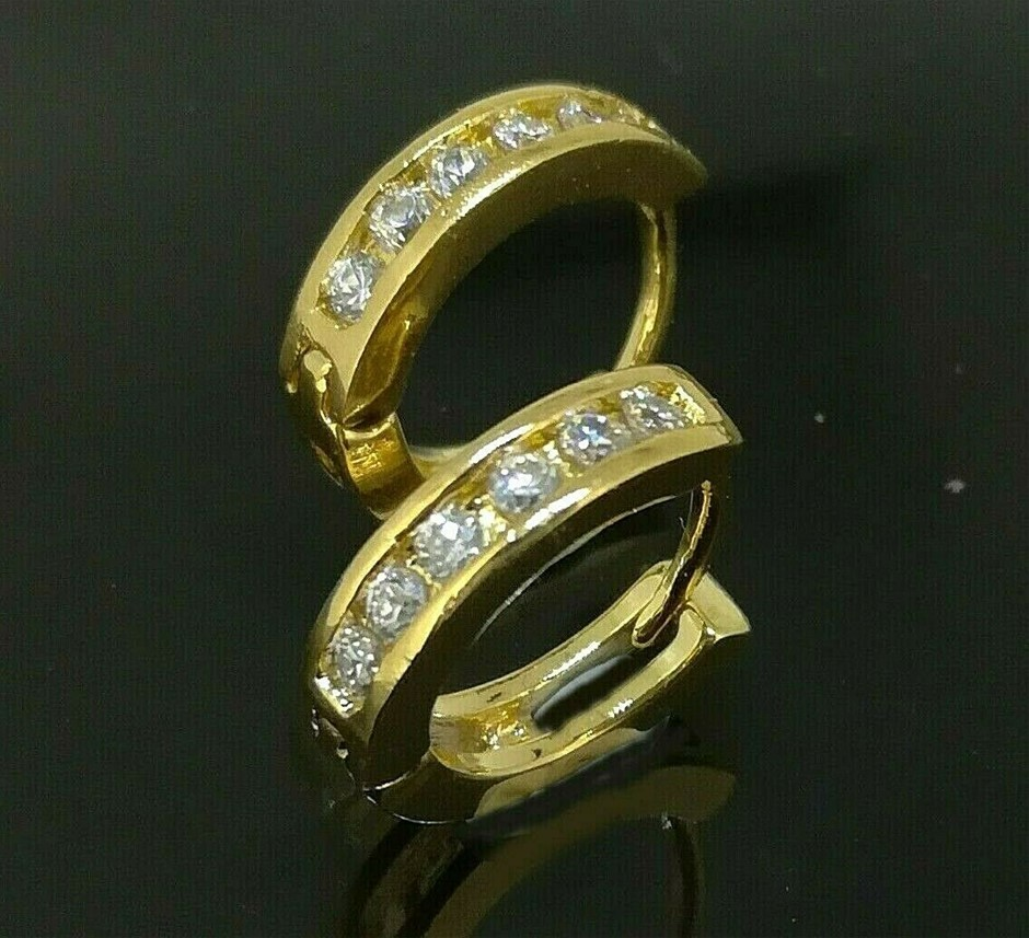 18k Yellow Gold Filled Hoop Huggies 11mm CZ Earrings