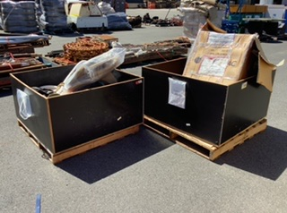 2x Wooden Crate Containing Foam Backing Rod & Ratchet Straps