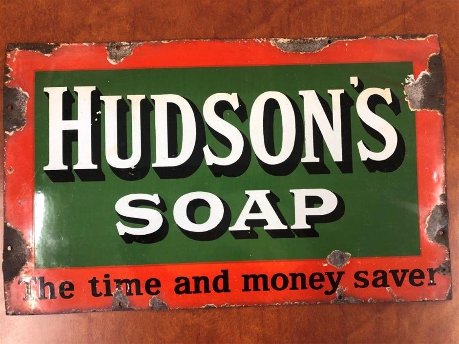 Authentic HUDSON'S SOAP Enamel Sign