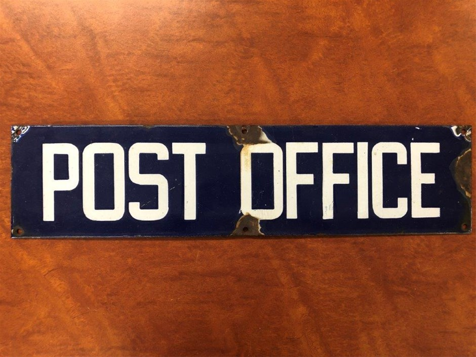 Authentic POST OFFICE Enamel Sign