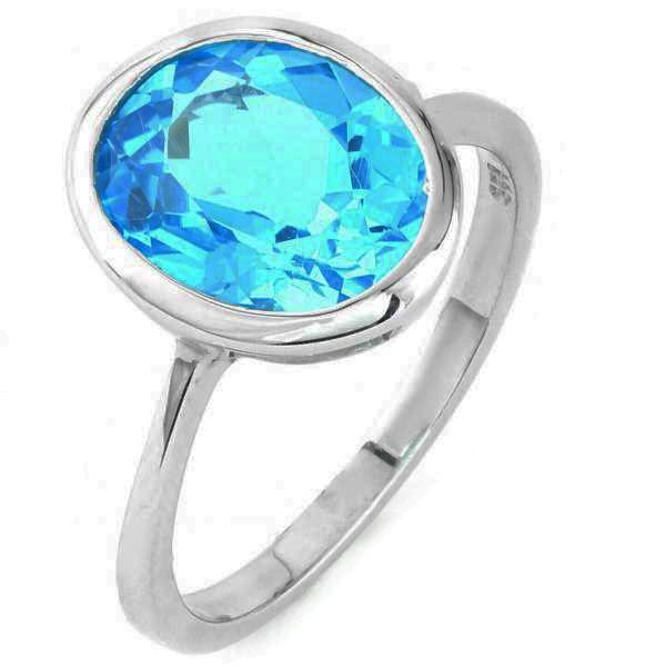 Stunning Sterling Silver Bright Blue Topaz Ring