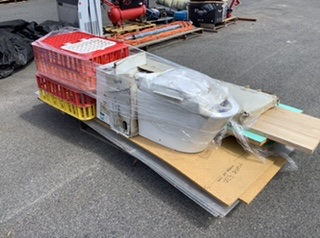 Pallet Containing Chicken Transport Cages, Toilet Bowl With Seat