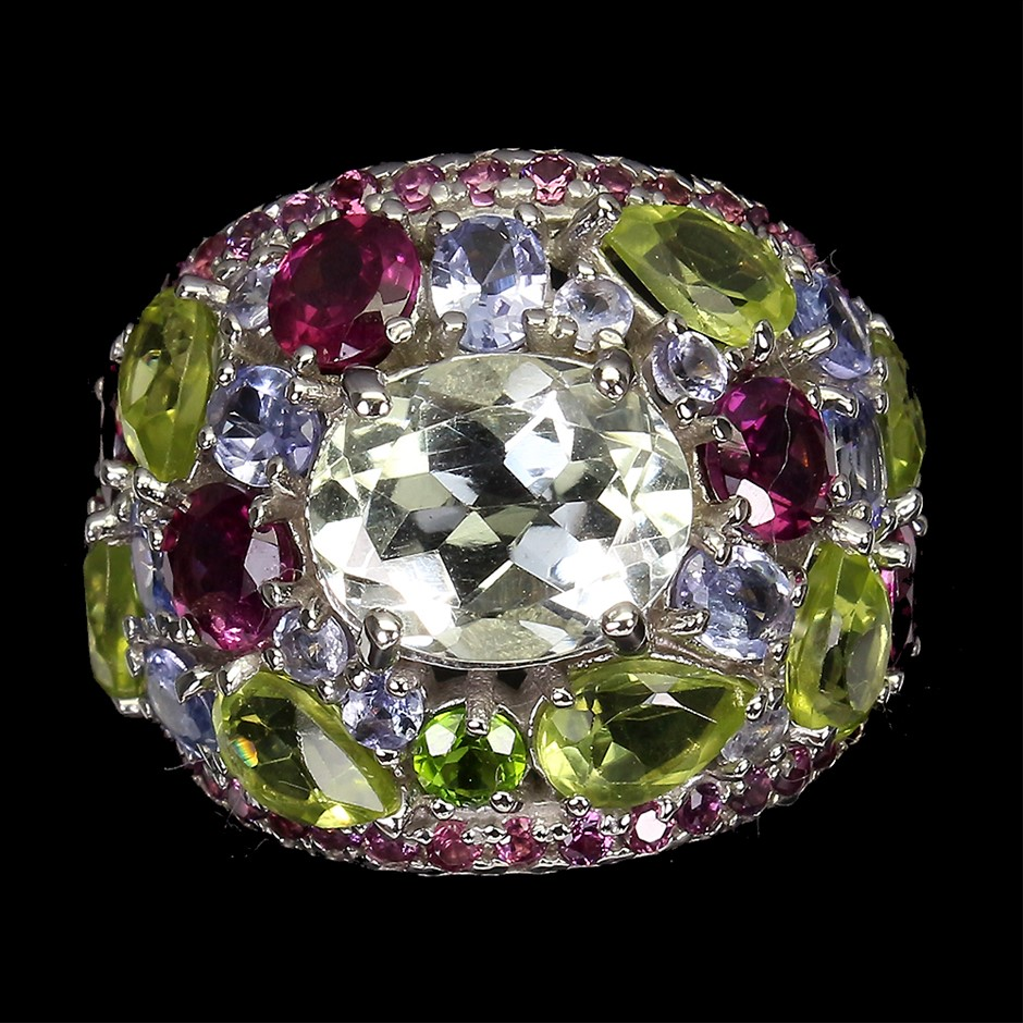 Spectacular Genuine Aquamarine Tanzanite Peridot & Garnet Statement Ring.