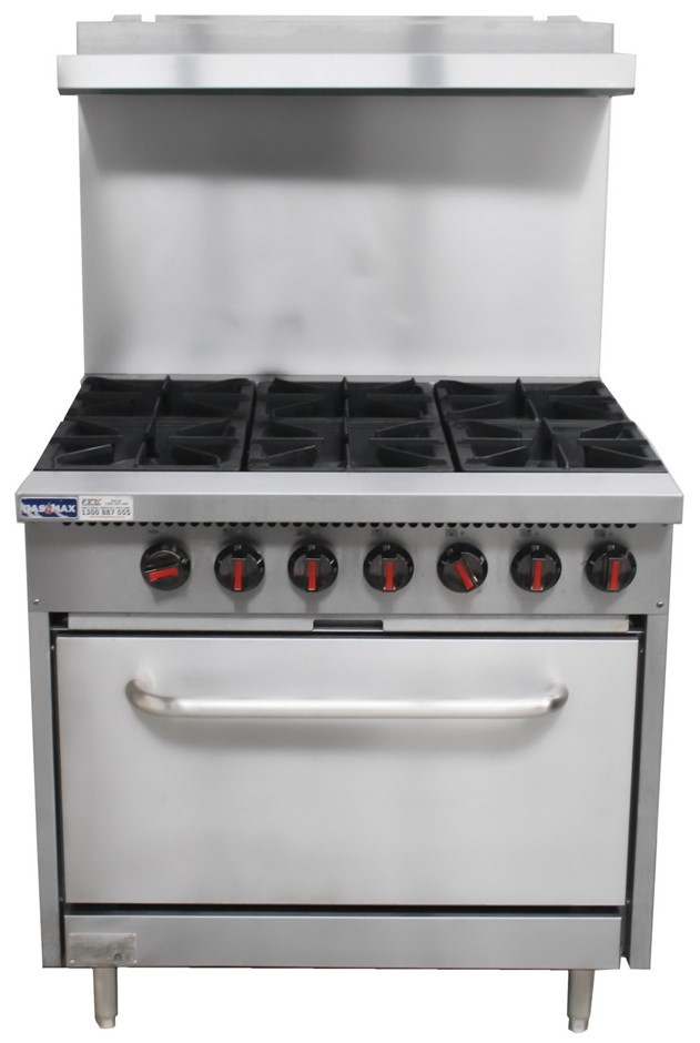 GASMAX 6 BURNER STOVE WITH OVEN WITH HIGH SPASH BACK
